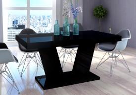 Stół Vega Luk rozkładany do 260 cm czarny wysoki połysk