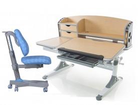 Zestaw dziecięcy regulowane biurko i krzesło I-Study brązowy