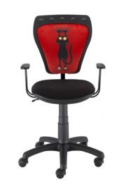 Obrotowe krzesło dziecięce z kotem na oparciu Ministyle