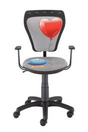 Obrotowe krzesło dziecięce z serduszkiem i kurczakiem Ministyle