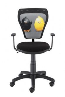 Obrotowe krzesło dziecięce z kolorowymi kurczakami na oparciu Ministyle