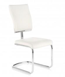 Nowoczesne krzesło na płozach tapicerowane białą ekoskórą K295