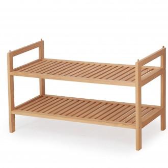 Drewniany stojak na obuwie z dwiema półkami ST9