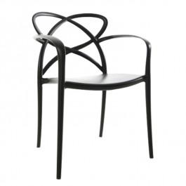Designerskie czarne krzesło z tworzywa sztucznego Arco