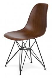 Krzesło w imitacji drewna na czarnym stelażu DSR Wood Black