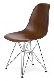 Krzesło w imitacji drewna na chromowanym stelażu DSR Wood