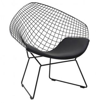 Designerski fotel z poduszką na czarnym stelażu Volier Soft