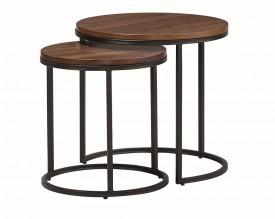 Zestaw 2 okrągłych stolików z fornirowanym blatem Costa