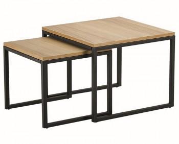 Zestaw 2 stolików kawowych w stylu industrialnym Loft Duo