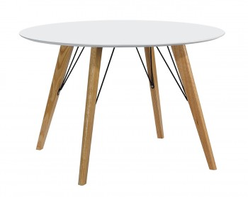 Stół z okrągłym blatem w stylu skandynawskim Larson FI100