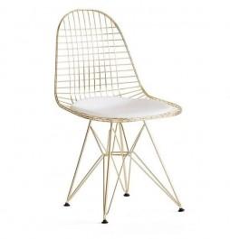 Metalowe krzesło w kolorze złotym z poduszką DSR NET Gold