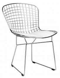 Metalowe krzesło z poduszką na siedzisku Net Soft chrom