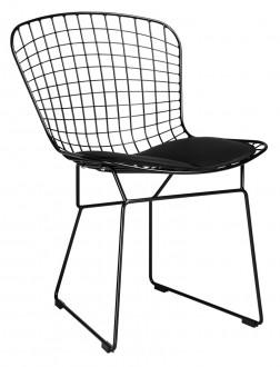 Metalowe krzesło z poduszką na siedzisku Net Soft black
