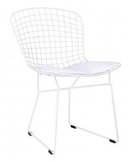 Metalowe krzesło z poduszką na siedzisku Net Soft biały