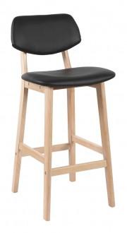 Drewniany hoker z siedziskiem i oparciem z ekoskóry Deker