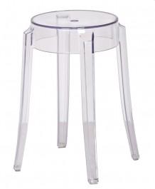 Transparentny stołek z poliwęglanu Charles 46