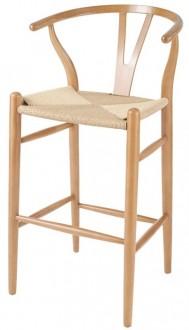 Drewniany hoker z siedziskiem z plecionki naturalnej Wishbone