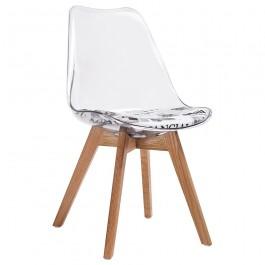 Krzesło na dębowym stelażu z wzorem gazety na siedzisku Nordic Clear