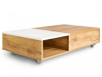 Stolik kawowy na kółkach z półką i szufladą Platt