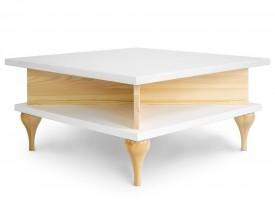 Drewniany stolik kawowy z półkami w stylu skandynawskim Harriet