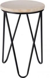 Drewniany stołek na metalowym stelażu Lapsy