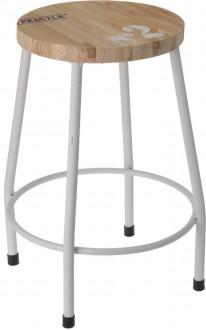Nowoczesny stołek z drewnianym siedziskiem Kine
