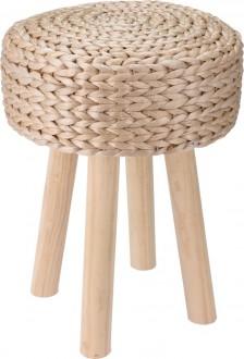Stołek na drewnianych nogach z siedziskiem pokrytym trzciną Firo
