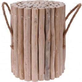 Drewniany stołek z uchwytami do przenoszenia Dela
