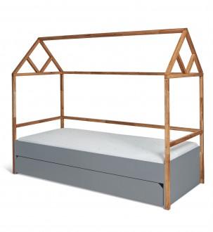 Łóżko dziecięce domek z szufladą Lotta Grey 90/200