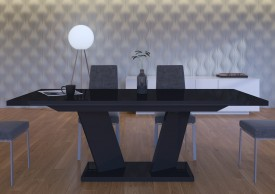 Czarny stół rozkładany w wysokim połysku Sommelier