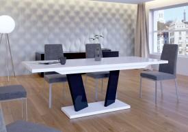 Rozkładany stół w wysokim połysku Sommelier biało-czarny