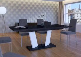 Rozkładany stół w wysokim połysku Sommelier czarno-biały