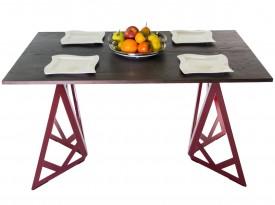 Nierozkładany stół z drewnianym blatem na metalowych nogach Blitz