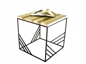 Kwadratowy stolik kawowy z blatem drewnianym Cosmo