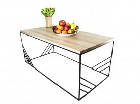 Prostokątny stolik kawowy z blatem drewnianym Cosmo