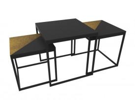 Zestaw 3 lakierowanych stolików Origami Rust
