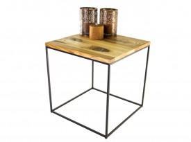 Stolik kawowy z drewnianym blatem Iron
