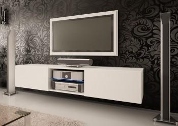 Szeroka szafka RTV ze szklaną półką Omega 6 mat