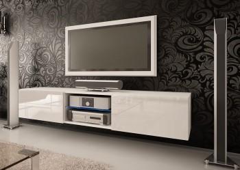 Szeroka szafka RTV ze szklaną półką Omega 6 biały wysoki połysk