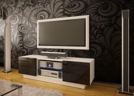Szafka RTV z szufladami i szklaną półką Omega 8 wysoki połysk