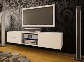 Szafka RTV z szufladami i szklaną półką Omega 9 mat