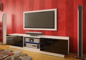 Szeroka szafka RTV z szufladami Omega 10 wysoki połysk