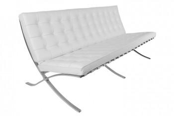 Biała sofa trzyosobowa BA3 insp. Barcelona ekoskóra