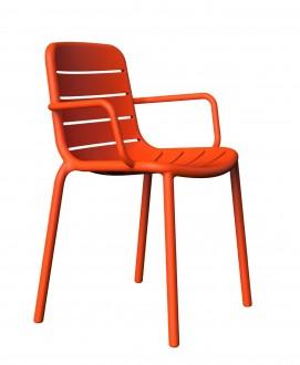 Krzesło z tworzywa sztucznego Gina z podłokietnikami