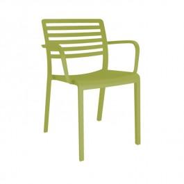 Krzesło kawiarniane z tworzywa sztucznego Lama z podłokietnikami