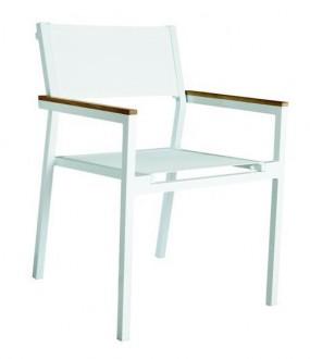 Białe krzesło z drewnianymi podłokietnikami Shio