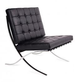 Pikowany fotel tapicerowany czarną ekoskórą Barcelon