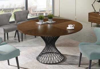 Okrągły stół na jednej nodze z fornirowanym blatem Orlando