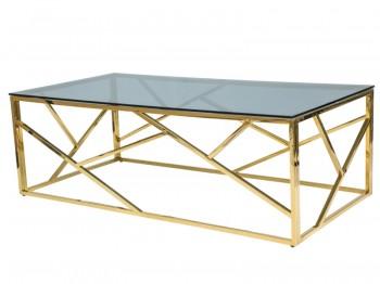Ława do salonu ze szklanym blatem na złotej podstawie Escada A