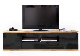 Czarna szafka RTV w wysokim połysku Luminos